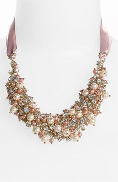 Nina 'Melaney' Ribbon & Cluster Bib Necklace available at #Nordstrom