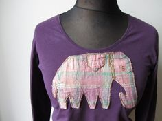 Long Sleeve Purple Elephant T Shirt, Vintage Elephant Applique, DIY Tshirt Ideas, Simple and Easy, Refashioned Tees, Upcycled Clothing by Garage Couture