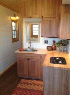 A lofted, 200 square feet tiny house in Spearfish, South Dakota. Built by Cedar Ridge Tiny Homes.