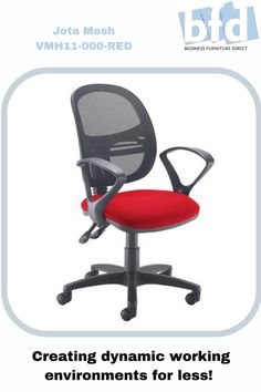 The Jota Mesh operators chair has a sleek design, multiple features and allows the user to enjoy the modern design without compromising on good ergonomic support. The 2 lever Jota Mesh has a breathable, curved mesh back for increased ventilation, complemented by an upholstered seat for added comfort. Business Furniture, Home Office Furniture, Mesh Chair, Furniture Direct, Back Seat, Chair Fabric, Modern Design, Wheels, Arms