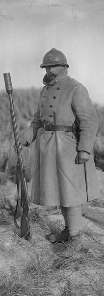 French soldier with an early grenade launcher, on the end of his rifle.