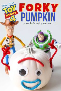 DIY Toy Story 4 Forky Pumpkin Forky won our hearts in Disney Pixars Toy Story Your kids will love making this easy Toy Story 4 Forky Pumpkin craft for Halloween. The post DIY Toy Story 4 Forky Pumpkin appeared first on Halloween Pumpkins. Toy Story Halloween, Easy Halloween Crafts, Halloween Snacks, Holidays Halloween, Halloween Pumpkins, Disney Halloween Decorations, Halloween Makeup, Halloween Rules, Halloween Camping