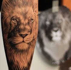 lion tattoo leg