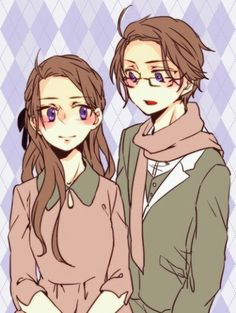 Hetalia :fem austria and austria  They 're too much cute