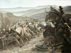 """""""Cuando Mitrádates los había rebasado y ya sus hondas y sus arcos los alcanzaban con sus disparos, se dio a los griegos la señal de ataque con la trompeta y los jinetes cargaron. Los enemigos no resistieron, sino que huyeron hacia el barranco. En esta persecución a los bárbaros murieron muchos de sus soldados de infantería. Los griegos, por propia iniciativa, desfiguraron a los muertos, para que fuera lo más espantoso de ver para los enemigos."""" Jenofonte, Anábasis III.4.3-5."""