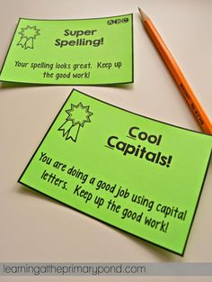 During writing workshop, if you notice a child doing a great job with conventions, slide one of these cards onto their desk to recognize them.  Other kids may take notice and clean up their writing, too!  Download the FREE conventions cards here:  http://learningattheprimarypond.com/this-week-in-intervention/this-week-in-intervention-2/
