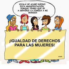 Voici un dessin humoristique de NANI ( une colombienne qui vit en Espagne). Dessin trouvé sur le blog de NANI: link Dessin qui peut être travaillé en classe à l'occasion de la journée de la femme (8 mars) ou le rapport homme-femme, égalité des femmes...