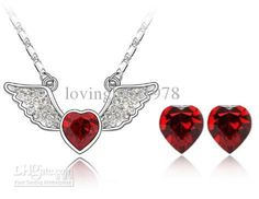 Austrian Crystal red Heart of Ocean 18k Necklace & Earrings Jewelry Set  29.99