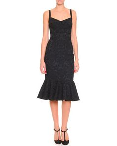 Stretch Jacquard Flounce Dress, Black by Dolce & Gabbana at Neiman Marcus.
