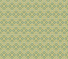 Owls and Hearts in Mustard and Green fabric by jabiroo on Spoonflower - custom fabric