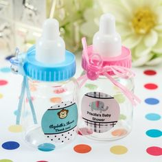 Personalized Baby Bottle Favor #babyshower #favor