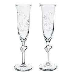 Disney Beauty and the Beast Glass Flute Set by Arribas - Personalizable | Disney Store, $75