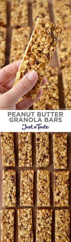 Skip the store-bought snacks and whip up a family favorite recipe for soft and chewy Peanut Butter Granola Bars. | recipe from justataste.com #recipes #healthy #snacks #peanutbutter