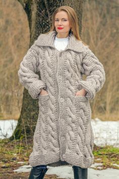 Hand Knitted BEIGE Mohair Wool Sweater Cardigan Thick Chunky Coat by SUPERTANYA #SuperTanya #BasicCoat