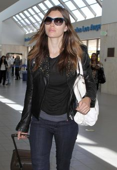 Jessica Biel Leather Jacket - While traveling through LAX Jessica Biel showed off her casual side in a cool leather jacket.