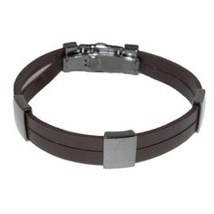 Brown strands of leather with black nickel slides and closure by Kenneth Cole NY