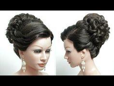 Bridal Prom Hairstyle For Long Hair Tutorial. High Bun. Wedding Updo. - YouTube