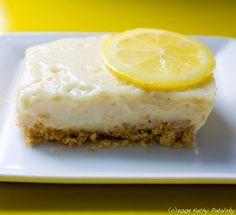 Zesty Lemon Custard Bars. Vegan. No-Bake. Zing-y!