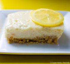 Zesty Lemon Custard Bars. Vegan. No-Bake. Zing-y!