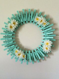 Hand Painted Clothespins wreath, diameter is 14 inches. - How to Tutorials DiyCrazy Diy Projects To Reuse Clothespins - Worth Trying DIY ProjectsItems similar to Beach Glass/Mint Handpainted Decorative Clothespins Wreath on EtsySome Amazing Diy Cloth Wreath Crafts, Diy Wreath, Mesh Wreaths, Holiday Wreaths, Wreath Ideas, Crafts To Sell, Kids Crafts, Diy And Crafts, Crafts For Seniors
