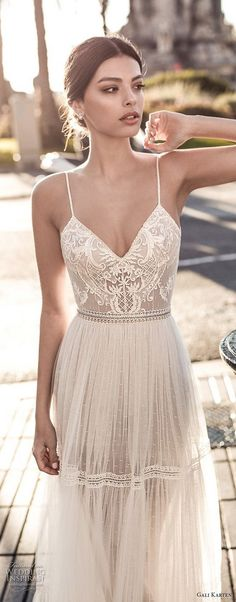 gali karten boho wedding dress with spaghetti strap #weddingdresses #weddingdress #bohowedding