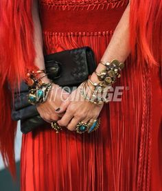 WEST HOLLYWOOD, CA - FEBRUARY 26 2012: Lisa Eisner (jewelry and handbag detail) at the Vanity Fair Oscar Party hosted by Graydon Carter at Sunset Tower on February 26, 2012 in West Hollywood, California. (Photo by Mark Sullivan/WireImage) Custom jewelry by Ron Boyd.
