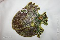 Картина панно рисунок Лепка совушки и рыбки  Тесто соленое фото 4