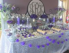 Purple & Gray Dessert Table for bridal shower idea www.MadamPaloozaEmporium.com www.facebook.com/MadamPalooza