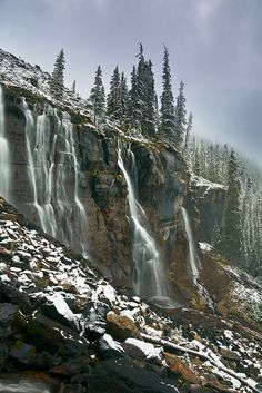 Seven Veils Falls above Lake O'Hara in Yoho National Park, British Columbia, Canada