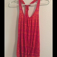 Razor button red/pink tank top Razor back pink and red tank top. Size small Tops Tank Tops