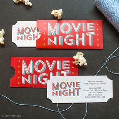 movie ticket Free Printable Invitations for Your Next Outdoor Movie Night! Backyard Movie Party, Outdoor Movie Party, Outdoor Movie Nights, Movie Night For Kids, Christmas Movie Night, Movie Night Party, Movie Party Invitations, Invitation Cards, Birthday Invitations