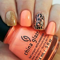 NailsPolishe salmon color with golden and cheeta pattern