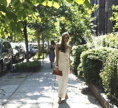 American Apparel The Stripe Long Spaghetti Tank Dress | Pikolinos Sandals | Mama's clutch