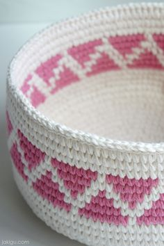 Crochet Basket with Pink Triangles and Chevron Geometric Detail Crochet Designs, Contemporary Baskets, Pink Triangle, Clothes Line, T Shirt Yarn, Stitch Markers, Color Change, Crochet Projects, Rugs