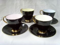 4 Royal Albert 1950s Bone China Coffee Cups Saucers Black Gold Pastel