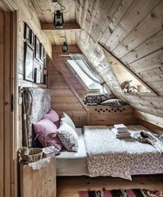 Cozy Cottage, Cozy House, Cozy Cabin, Attic Spaces, Small Spaces, Extra Bedroom, Bedroom Bed, A Frame Bedroom, Cozy Bedroom
