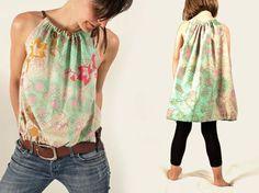 DIY-Anleitung: Damentop und Kinderkleid nähen / diy sewing tutorial for a pretty shirt via DaWanda.com
