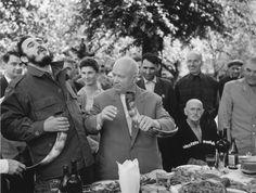 Vasiliy Egorov. Nikita Khrushev and Fidel Castro having lunch in Georgian kolkhoz «Guripsh». 1963