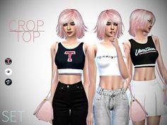 Sims 4 CC's - The Best: Crop Top Set by PINEAPPLEGIRL