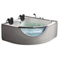 Dream tub from home depot. 2 person whirlpool with decorative glass.
