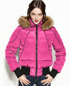 Nautica coat in hot pink. Looks so warm! Maybe I'll wait for a sale or coupon. Puffer Coat With Hood, Pink Puffer Coat, Pink Boots, Fur Trim, Winter Outfits, Winter Clothes, Coats For Women, Faux Fur, Winter Jackets