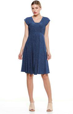 TRAVERSA CAP SLEEVE STRETCH KNEE LENGTH JERSEY DRESS IN BLUE
