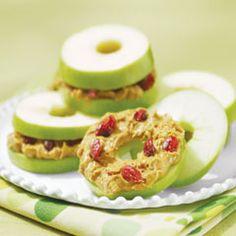apple/peanut butter sammiches  raisins or craisins