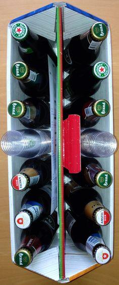 Een bierproefpakket met Heineken, Amstel en Brand bier.