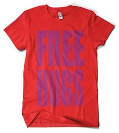 (Cybertela) Free Hugs Mens T-shirt Funny Loving Tee (Red Large)