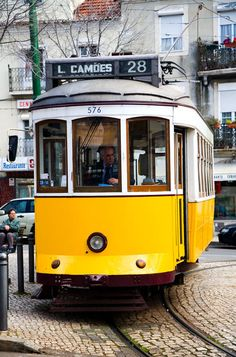 Number 28 Tram - Lisbon - Travel in Portugal Photos Monuments, Lisbon Tram, Tramway, Portuguese Culture, S Bahn, Bonde, Light Rail, Urban Architecture, Train