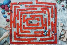 Dina Belenko's Crochet Maze for Wes Anderson #crochet #art #wesanderson #film #iloveyarn #diligence