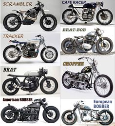 Types of motorcycles : Brat, Café Racer, Scrambler and Co.