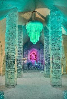 Ice Hotel - Quebec, Canada. The is the first ice hotel in North America. All furniture is made of ice. In addition to using ice glasses as in the Kiruna ice hotel, the bar (and room service) also serves cold cuts on ice plates. Amenities include a nightclub, movie theater, indoor heated washrooms and outdoor hot tubs.