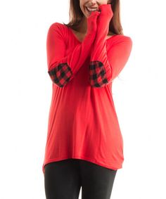 This Red Plaid Elbow Patch Tunic is perfect! #zulilyfinds